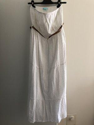 Melissa Odabash Vestido bandeau blanco-coñac Algodón