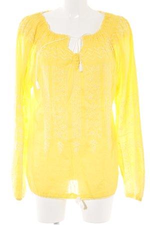 Melissa Odabash Langarm-Bluse gelb-wollweiß abstraktes Muster Hippie-Look