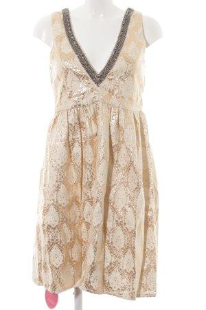 b0123df458348 Mellow Peach Robe de soirée doré-crème motif embelli élégant