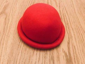 Cappello a bombetta rosso mattone Lana