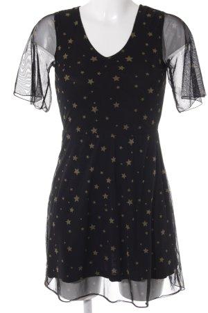 Melrose A-Linien Kleid schwarz-goldfarben Sternenmuster Party-Look