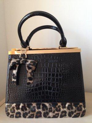 Melrose Handtasche schwarz Lackoptik
