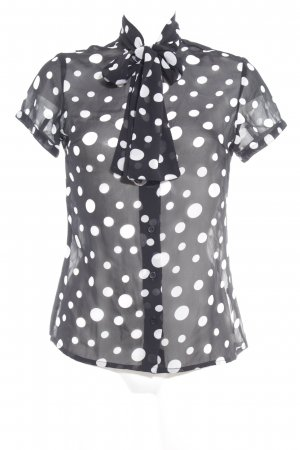 Melrose Kurzarm-Bluse schwarz-weiß Punktemuster Casual-Look