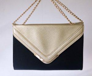 Melrose Kuvert-Tasche in schwarz/gold mit Kettenhenkeln
