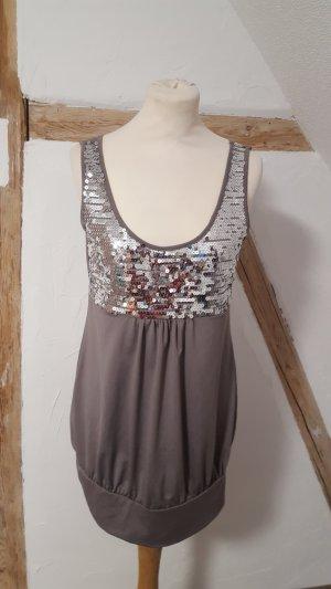 Melrose Longshirt Babydoll Shirt Minikleid grau mit Pailetten Größe 40 NEU