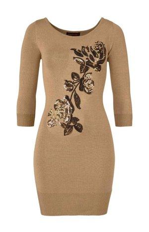 Melrose Strickkleid mit Pailletten Blume Beige Gold Camel Gr.M 38 Neu