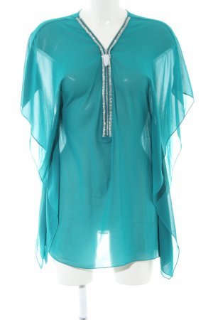 Melrose Transparenz-Bluse türkis-silberfarben Casual-Look