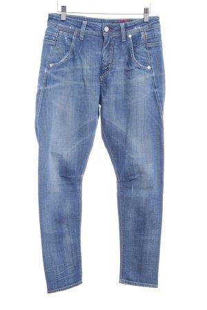 Meltin Pot 7/8 Jeans stahlblau-weiß Farbverlauf Washed-Optik