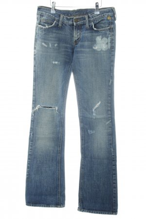 Meltin Pot Denim Flares steel blue distressed style