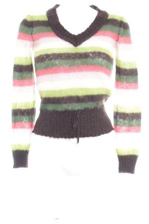 Meltin Pot V-Ausschnitt-Pullover Streifenmuster Casual-Look