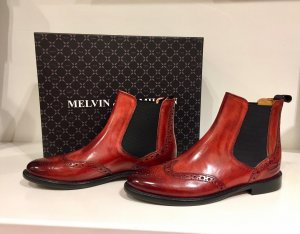 Melvin & hamilton Wingtip Shoes brick red-black leather