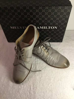 Melvin & hamilton Lace Shoes beige-silver-colored leather