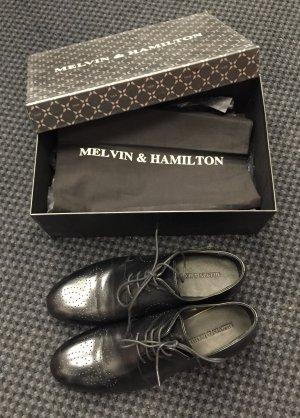 Melvin & hamilton Richelieu noir-magenta cuir