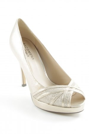 Menbur Peeptoe Pumps goldfarben Glitzer-Optik