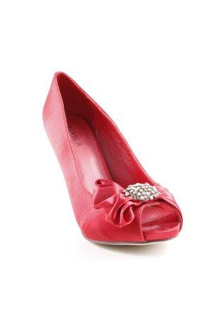 Menbur Peep Toe Pumps rood-zilver elegant