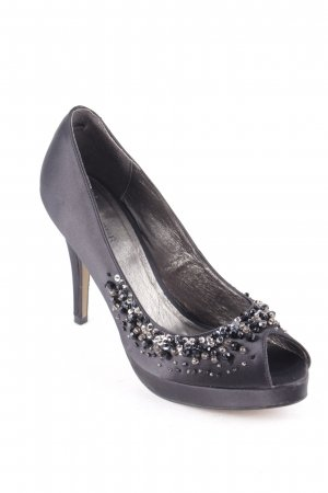 Menbur Peeptoe Pumps schwarz-silberfarben Party-Look
