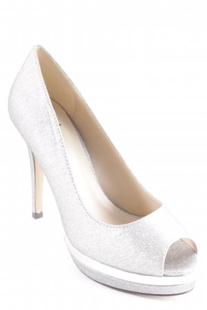 Menbur Peeptoe Pumps silberfarben Party-Look