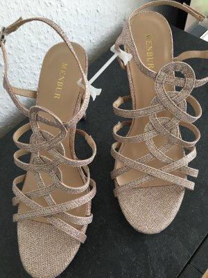 Menbur T-Strap Sandals bronze-colored-beige