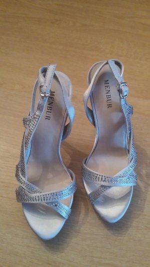 Menbur Platform High-Heeled Sandal light grey textile fiber