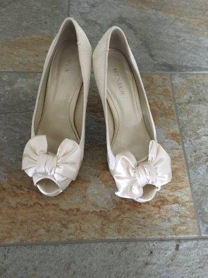 Menbur Schuhe Peeptoes Hochzeit weiß/Creme