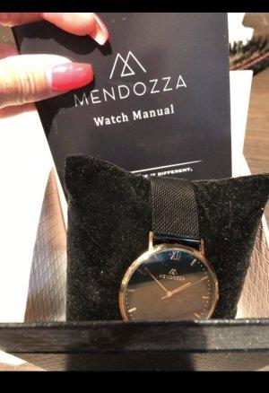 Horloge met metalen riempje roségoud-zwart