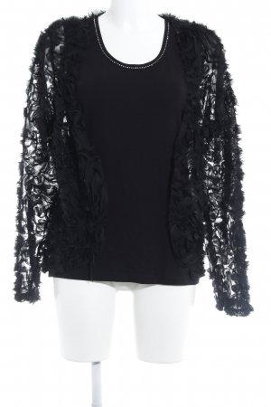 Menke Jersey twin set zwart bloemenprint extravagante stijl