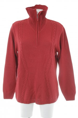 Menke Strickpullover dunkelrot Zopfmuster Casual-Look