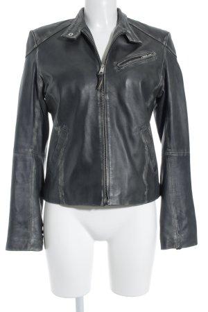 Mer Du Nord Leather Jacket anthracite biker look