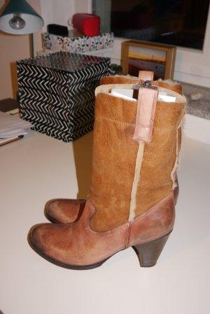 Mer du sud Stiefelette Boots cognac braun Leder + Fell Vintage-Stil Absatz Gr. 40