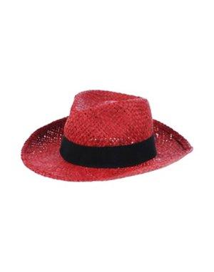 Chapeau de paille rouge brique