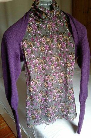 Bolero lilac-blue violet merino wool