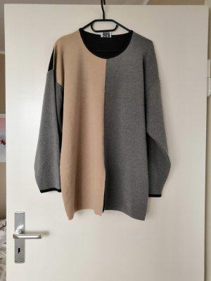 Merino Pullover in Grau und Creme