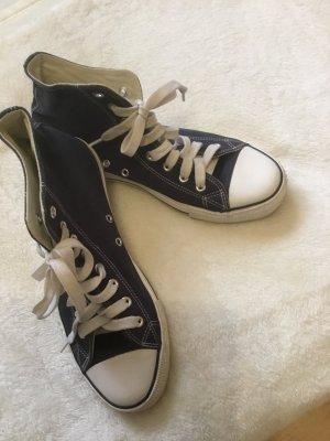 High Top Sneaker dark blue-white linen