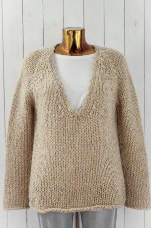 MES DEMOISELLES Damen Strick Pullover Ecru Offwhite Glitter Gold Grobstrick Gr.1