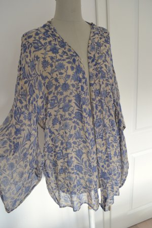 Mes Demoiselles Paris Designer Floral Kimono Poncho Jacke Blumen blau beige One Size M 38 S 36