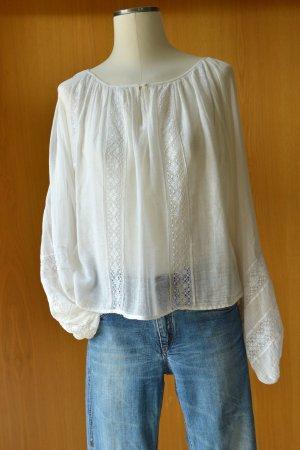 MES DEMOISELLES zarte romantische Bluse Hemd Tunika 38 S/M cremeweiß Stickereien Spitze
