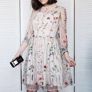 Mesh Kleid Bestickt Nude Beige XS 34 Stickerei
