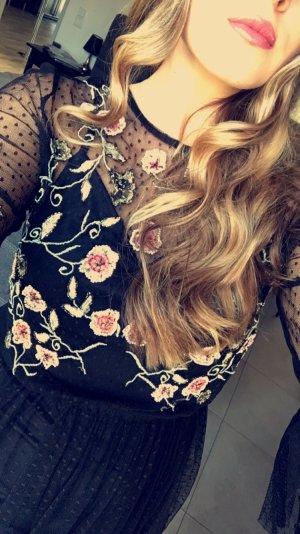 Mesh Kleid mit Rosen Patches