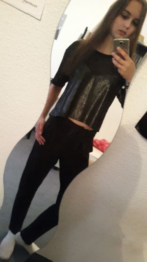 H&M Cropped Shirt black-silver-colored