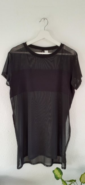 H&M Divided Mesh Shirt black
