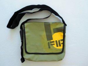 Messenger Bag Schultertasche Überschlagtasche oliv/taupe/gelb