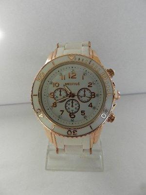 Analoog horloge roségoud-wit Edelstaal
