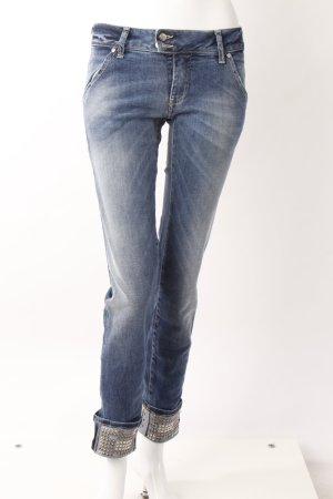 Met High Waist-Jeans Nietenaufschlag