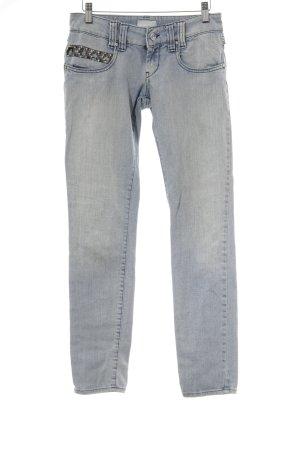 MET Slim Jeans blau-silberfarben Glitzer-Optik