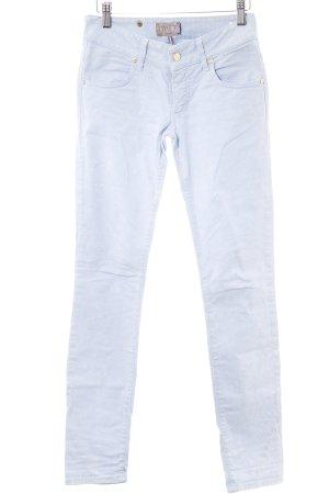 MET Straight-Leg Jeans hellgrau-himmelblau Farbtupfermuster Bleached-Optik