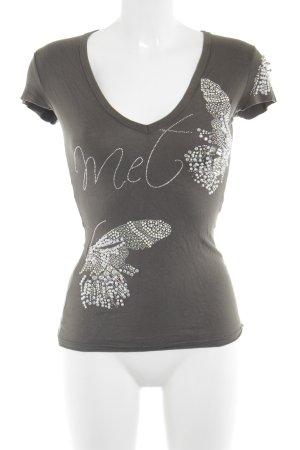 MET V-Ausschnitt-Shirt khaki Animalmuster Casual-Look