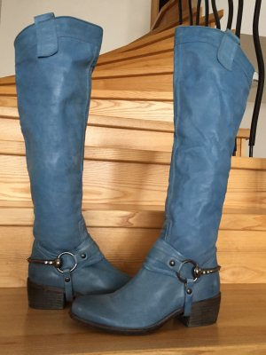 Metal Jeans blue leather boots