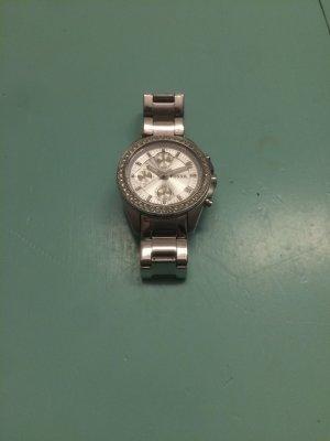 Metallene Fossil Armbanduhr mit Strasssteinen