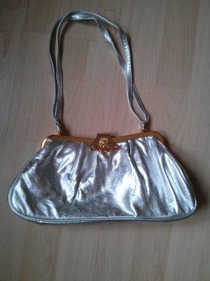 metallic Abendtasche silber Clutch Tasche Pochette goldene Schließe