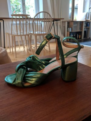 Metallic green sandals